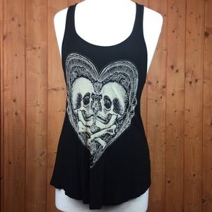 Lightweight Black Bedazzled Skull Tank Top M